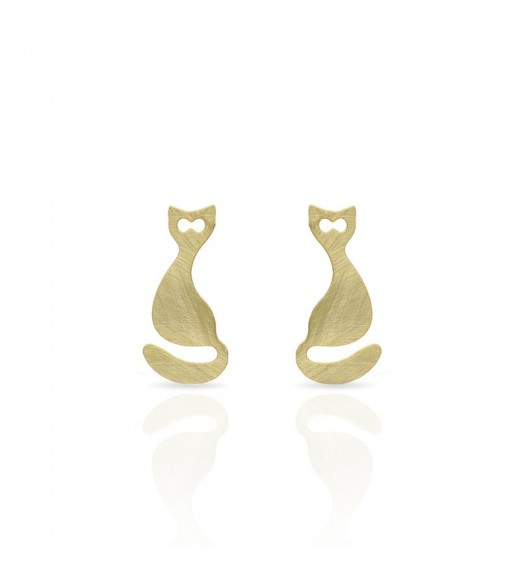 Small Cat Earrings. Gold