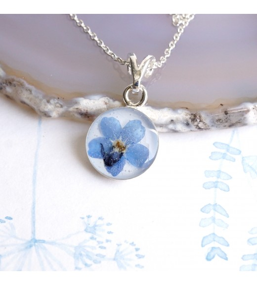 Unique pebs jewelry sterling silver pendant with real myosotis myosotis sylvatica forget me not flower silver pendant aloadofball Image collections