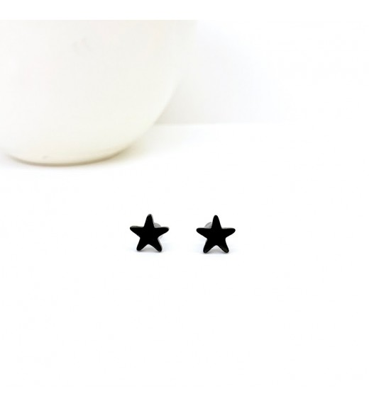 Minimal Black Earrings -Black Stars