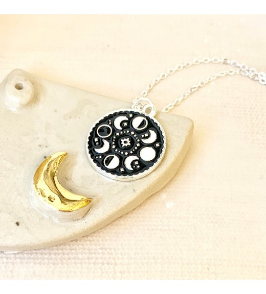 Spells and Magic  Pendant - Moon Phase. Silvery