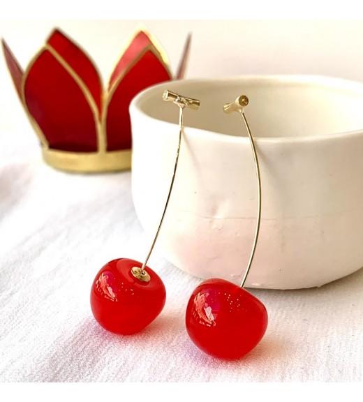 Red Mini Cherry Earrings