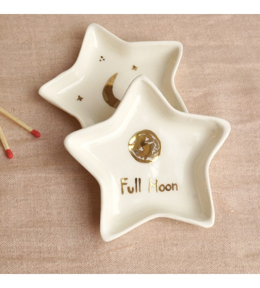 Porcelain Star Plate. Crescent Moon